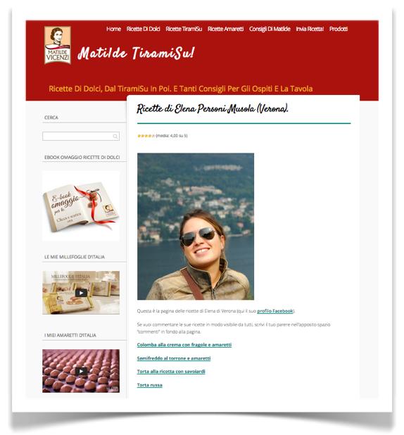 Su MatildeTiramiSu.it una pagina web per che invia una ricetta di dolci a Matilde Vicenzi