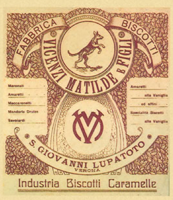 Etichetta vintage di Industria Biscotti Caramelle Vicenzi Matilde e Figli
