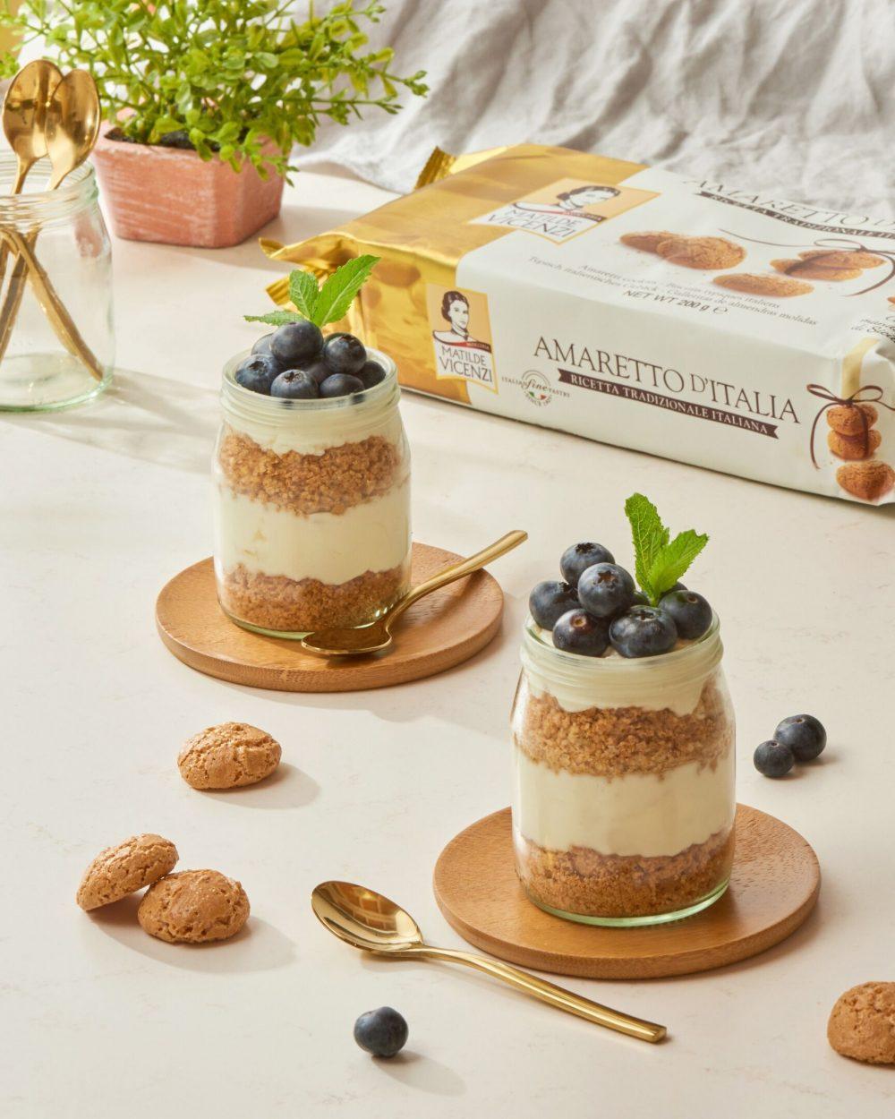 Cheesecake Con Mousse Ai Mirtilli E Amaretti Ricetta Fredda In Vasetto