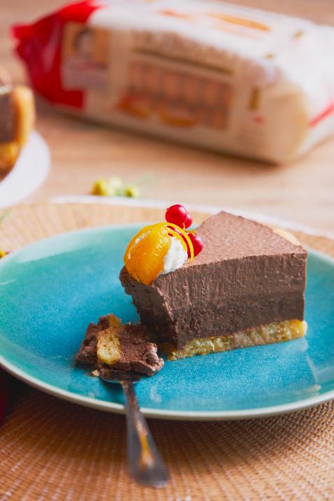 Torta con mousse al cioccolato arancia e Savoiardi Vicenzovo